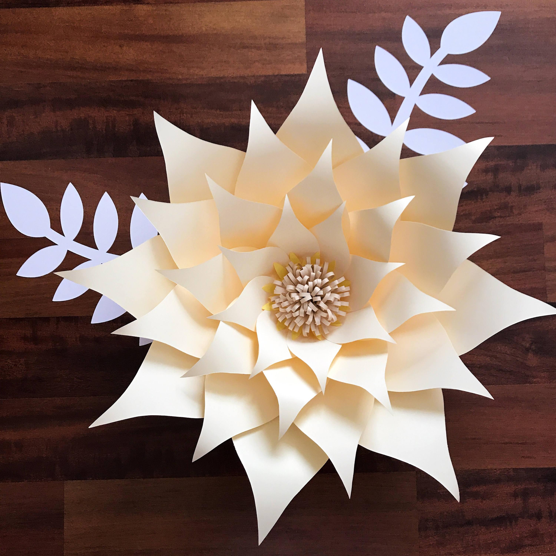 paper flowers -pdf petal  89 paper flower template with base  digital version