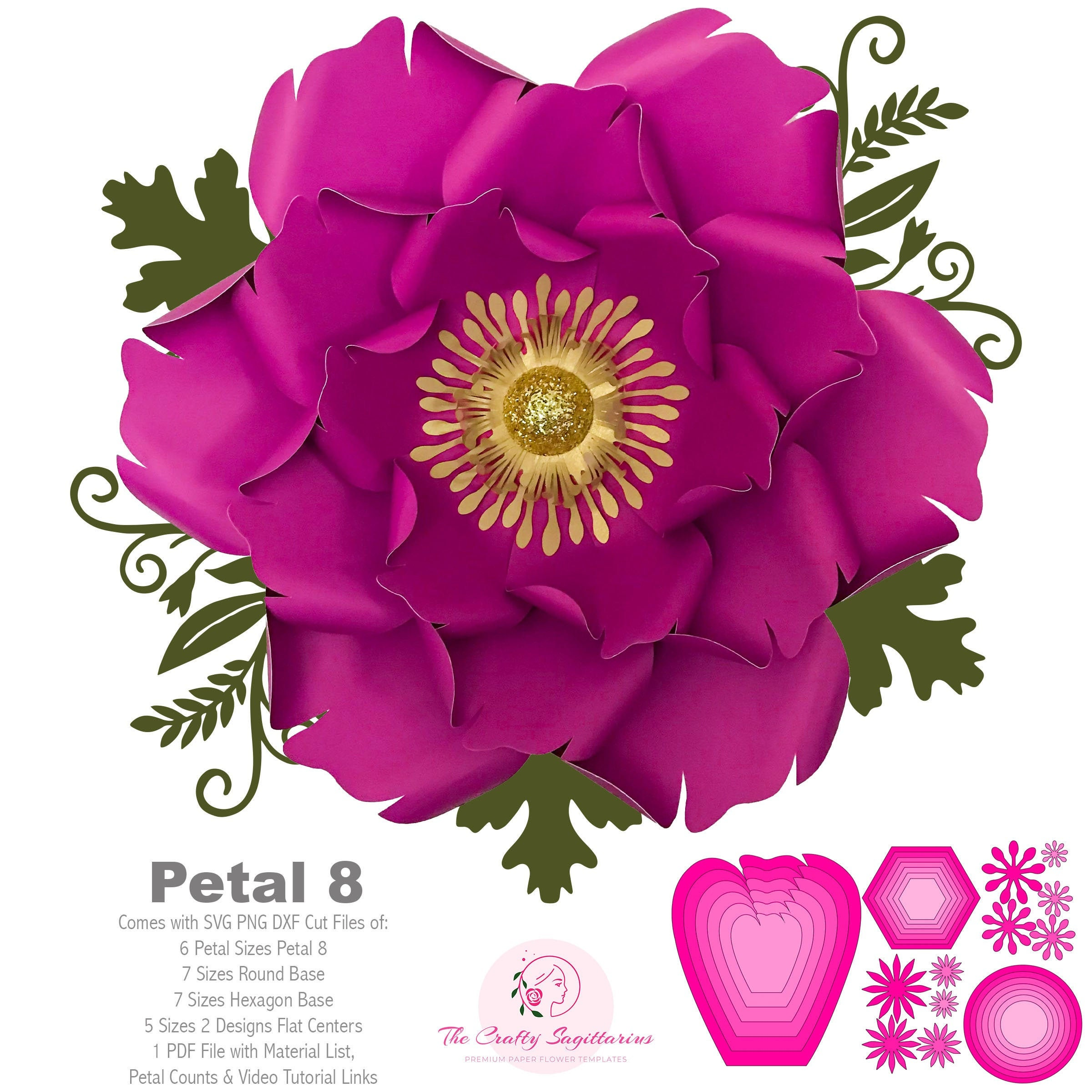 Svg Png Dxf Petal 8 Paper Flowers Template Cut File With Free Base And Flat Centers For Cutting Machines Such As Cricut And Silhouette Cameo