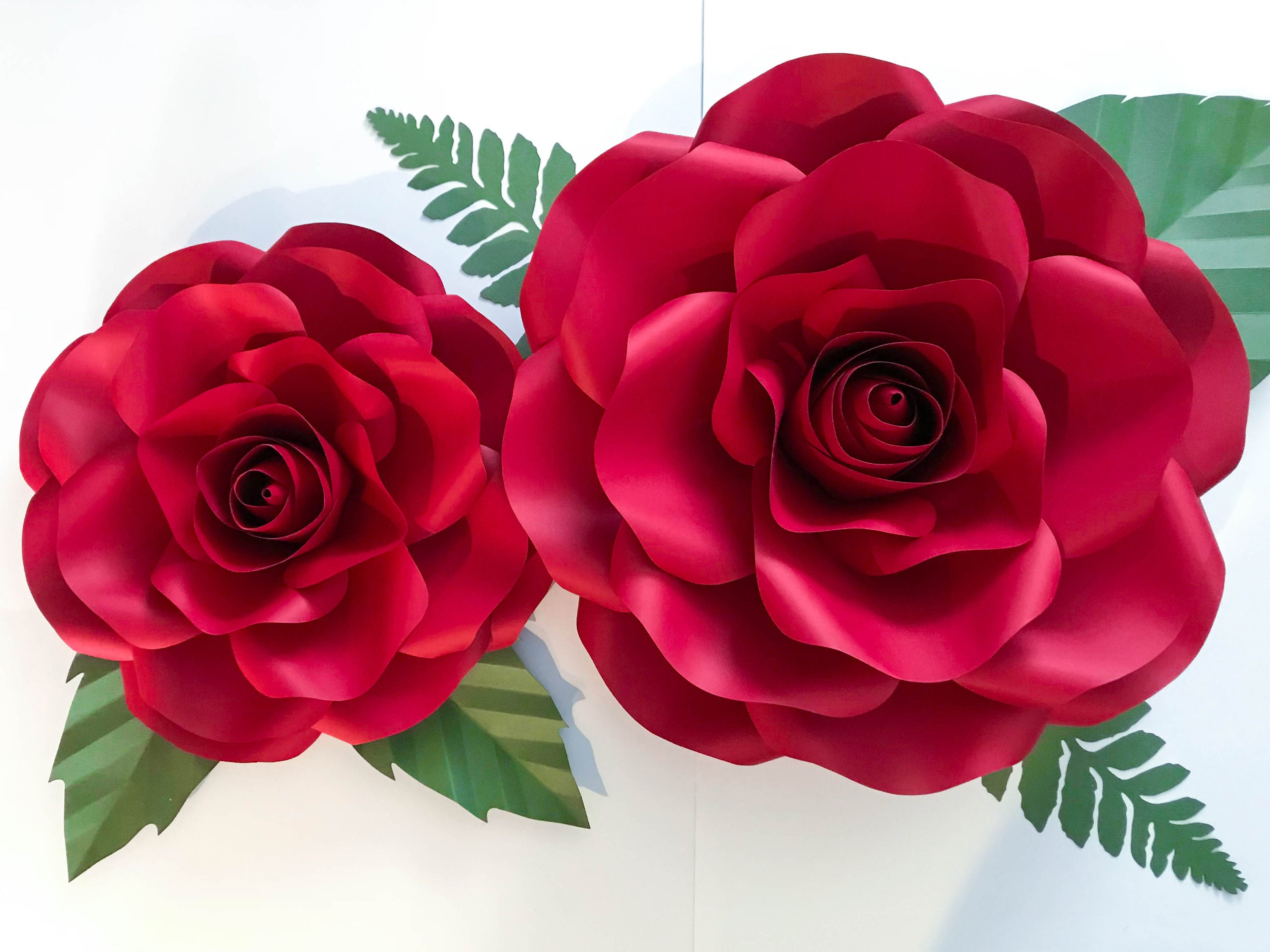 Paper Flowers Svg Combo Of Large And Medium Rose Paper Flower Template Bud Included 15 16 And 19 21