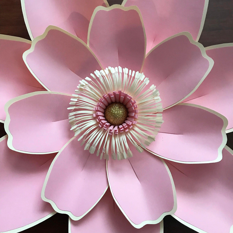 paper flowers -pdf petal  123 paper flower template with base  digital version