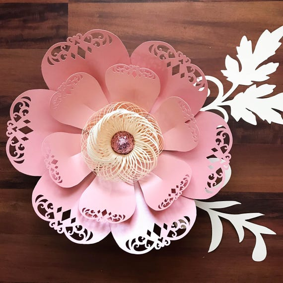 Paper Flowers Svg Lace Petal 3 Flower Template Fringe Stripe Fluffy Center Included Original Design Cricut And Silhouette Ready