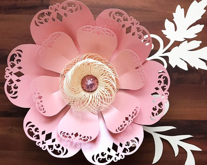 Paper Flowers - SVG Lace Petal#3 Flower Template Fringe stripe fluffy center included,  Original Design;- Cricut and Silhouette Ready
