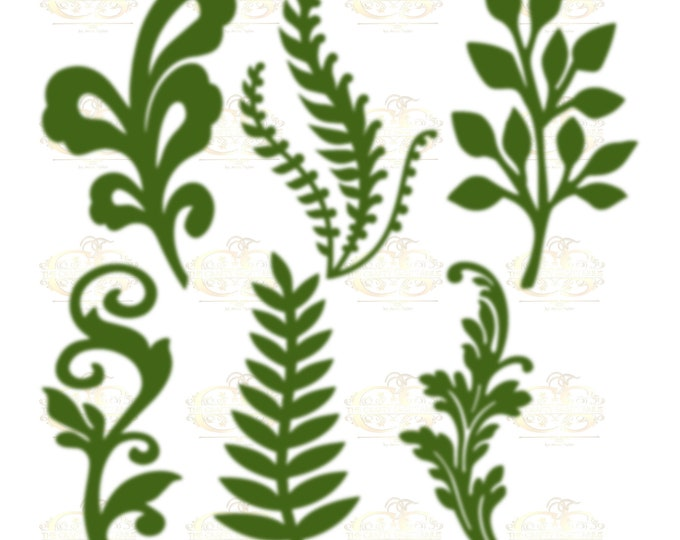 Set 10 Svg PNG Dxf 6 different Leaves for Paper Flowers- MACHINE use Only (Cricut and Silhouette) DIY and Handmade Leaves Templates
