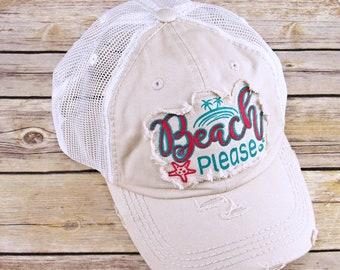 05ce5cc0 Beach Please Trucker Hat - Beach Please Trucker Cap for women - distressed  Beach Please - Embroidered Hat - Embroidered Cap