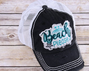 0ca520fe8ce Beach Please Trucker Hat - Beach Please Trucker Cap for women - distressed  Beach Please - Embroidered Hat - Embroidered Cap