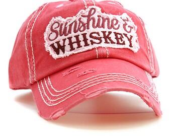 b767f3c7fb6 Sunshine and Whiskey hat- embroidered women's baseball cap - preppy  baseball hat - Gift for her