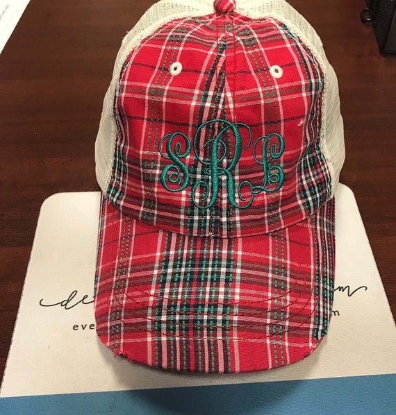 Red Plaid Trucker Hat Orange Plaid Trucker Cap Sorority  0e89ee88370