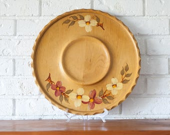 Vintage Hand Painted Wooden Dall-Craft Serving Platter Snack Tray with Flowers