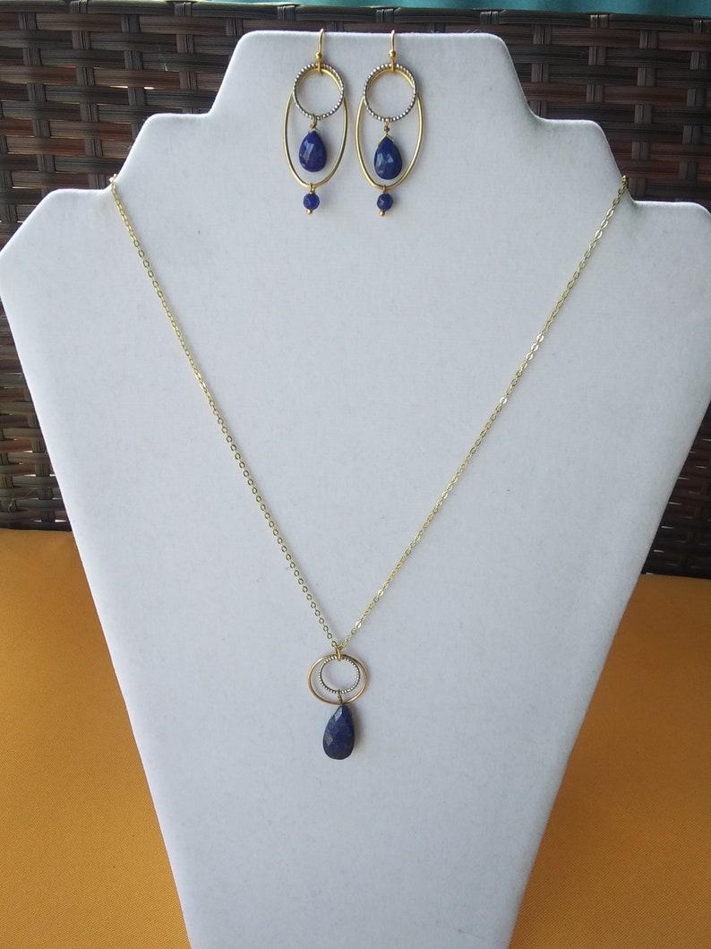 Lapis lazuli necklace and earrings Sundance Inspired