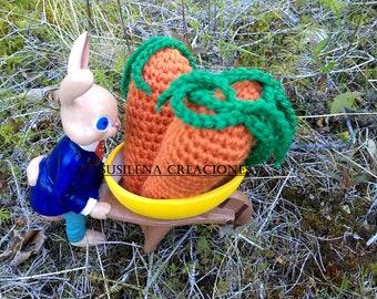 Three amigurumi carrots, amigurumi carrot, carrot amigurumi, amigurumi, carrot, amigurumi toy, amigurumi, orange carrot, handmade carrot,