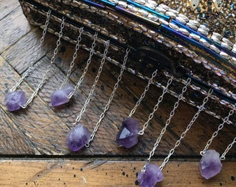 Amethyst Chunk Necklace || Chakra Necklace || Stone Necklace || Pendant Necklace