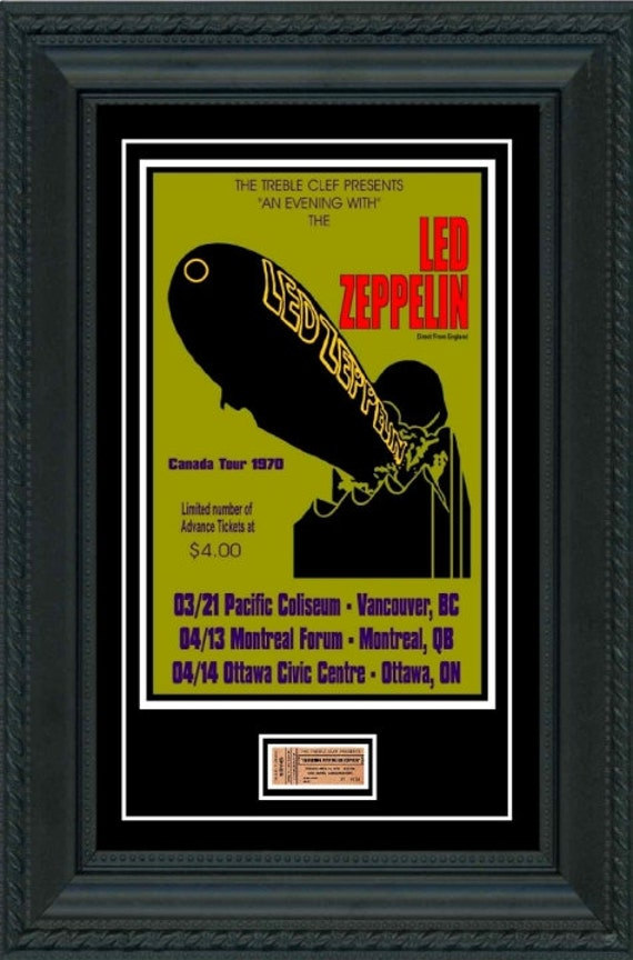 led zeppelin 1970 concert affiche billet pr t encadrer etsy. Black Bedroom Furniture Sets. Home Design Ideas