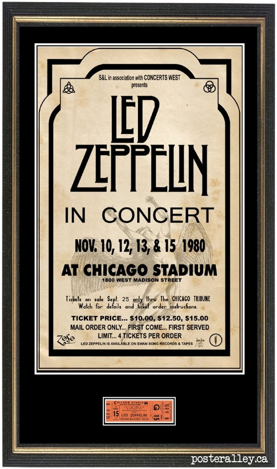Led Zeppelin Chicago Concert POSTER TICKET Ready to frame