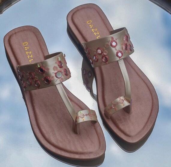 mirrorwork stylish slippers   Etsy