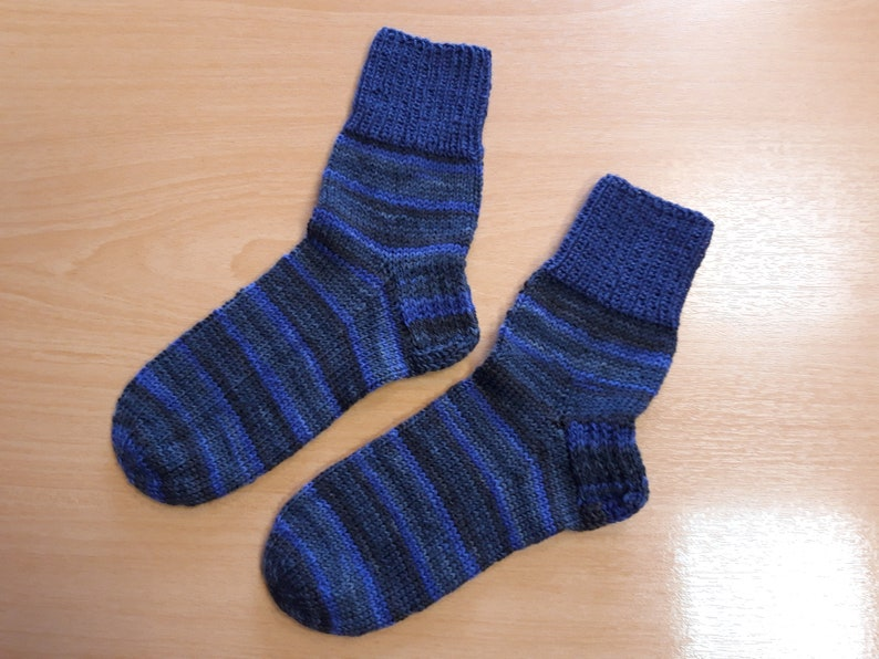 3637 blue gray striped socks comfortable socks boy gift winter socks warm stockings handmade hand-knit socks gift home socks ready to ship