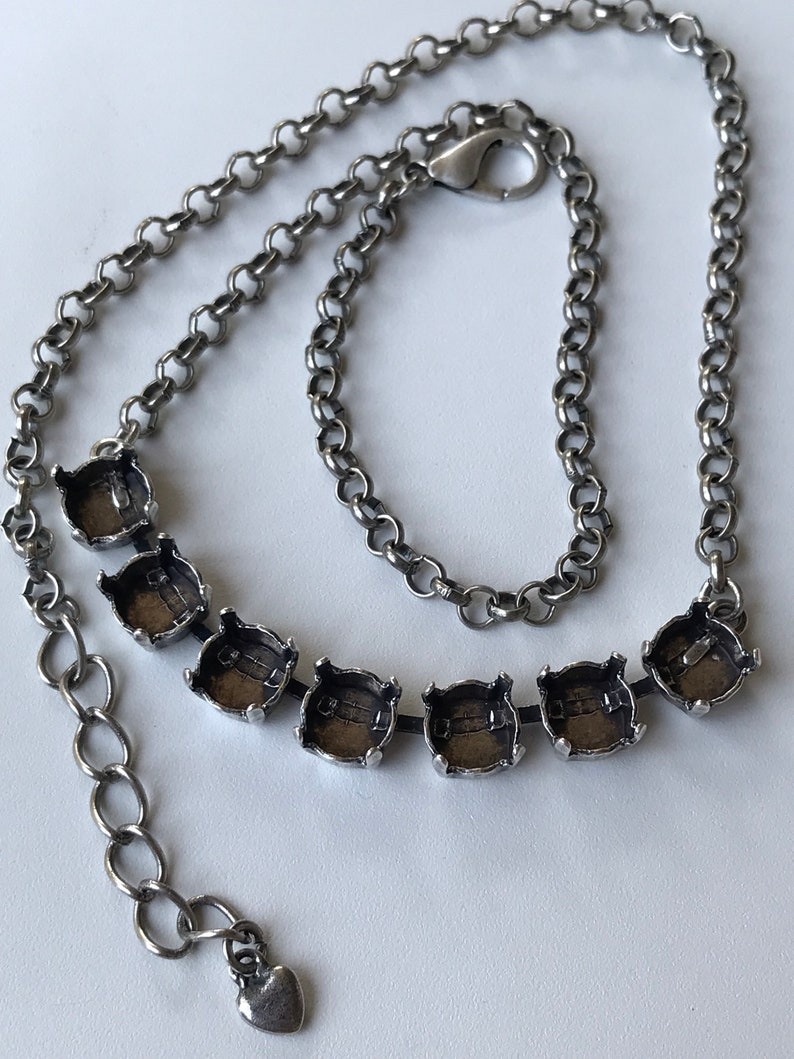 Necklace Making 7 Empty Settings Empty Cupchain Make Your Own Antique Silver 8mm Empty Cup Chain Centerpiece Necklace