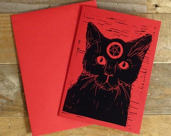 Witch's Black Cat, Alternative Greeting Card, Mother's Day, Valentine's, Lino print, Witchcraft, Pentagram, Wicca, Hand printed A6 Print