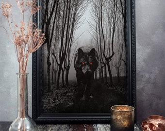 Black Wolf Print Shuck Gothic Home Decor Cryptid Forest Art Dark Macabre Folk Horror A5 A4 A3