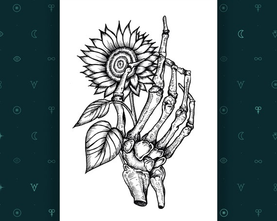 Line Drawing Sunflower Tattoo : Skeleton hand print gothic home decor sunflower etsy