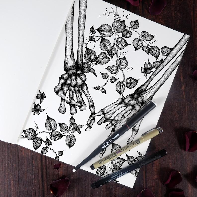 Dark and Macabre Gothic Home D\u00e9cor Gothic Gift Memento Mori Pinky Swear Illustration Pinky Promise Postcard Skeleton Mini Print