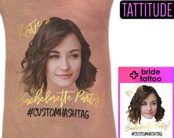 Bachelorette Party Tattoos, bachelorette tattoos custom, bridesmaid gift, bride tribe, gold temporary tattoos, bachelorette party favors hen