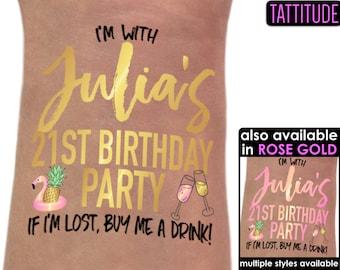 21st Birthday Party Tattoo - Birthday tattoos - Metallic gold tattoo pineapple - If Im lost buy me a drink - personalized tattoo custom name