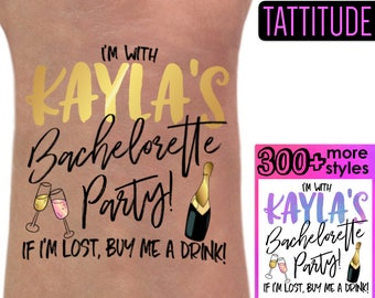 Personalized Bachelorette Tattoos | team bride tattoos, bridal party tattoos, if lost buy me a drink, custom brides name temporary tattoos