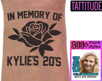 In Memory of My 20's, 30th Birthday Party Custom Personalized Temporary Tattoos | 30th birthday for her, for him, birthday tattoos, 40th