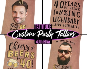 Mens 40th Birthday Gift For Man Custom Party Tattoos Decoration