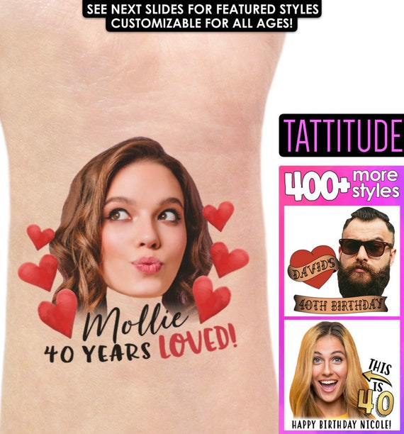 custom tattoo temporary tattoos face tattoo 40th Birthday Party Tattoo Favors personalized tattoo 40th birthday for women for man