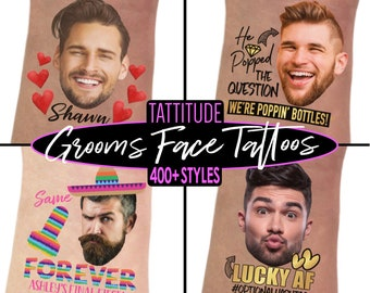 Bachelorette Party Favors - Bachelorette Tattoo - Bachelorette Party Favor - Groom's Face Tattoo - Bride Tattoo - Bride Gift - Funny Gift