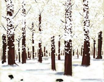 Winter Forest In Snowy Winter