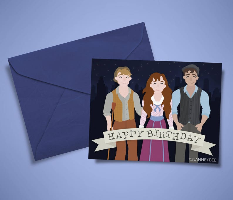 photo about Disney Birthday Cards Printable referred to as Newsies Disney musical broadway birthday card printable, print on your own, electronic down load