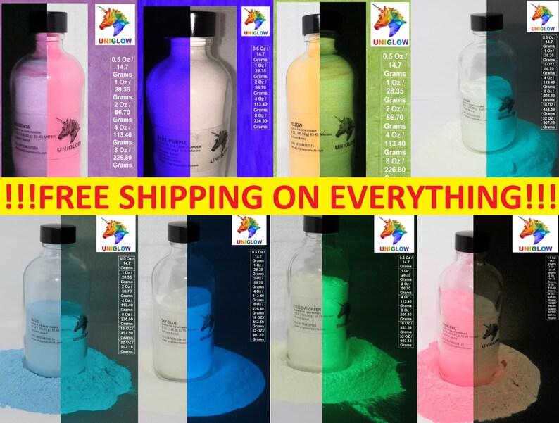 5 x 0 5 Oz UniGlow's Premium Glow In The Dark Pigment Powder  PACKET  INCLUDED: 5 x 0 5 Oz