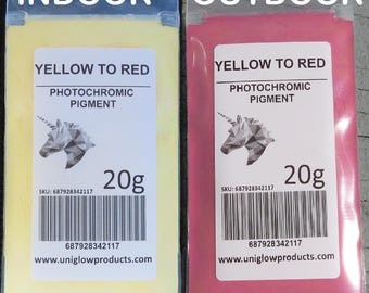 PhotoChromic Pigment changes colors when exposed to Sunlight or UV light, and reverts to its original color when sunlight is blocked.