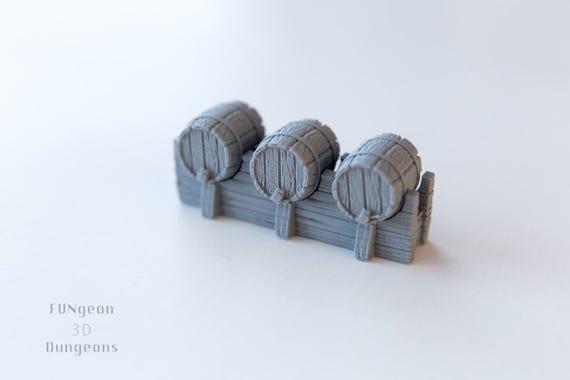 DragonLock Terrain 3D - Stand fût w / 3 fûts - 28mm échelle
