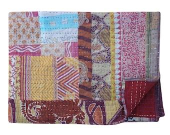 Indian Cotton Sari Patchwork Kantha Quilt Handmade Kantha Blanket Twin Size Vintage Kantha Bedspread Hand Stitched Kantha Bedding Throw