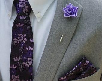 8169c0a78352 Rose Lapel Pin / Purple Floral Tie & Matching Pocket Square Set / Men's Suit  Accessories / Men's Tie / Pocket Square