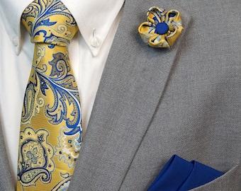 Yellow-Blue Paisley Flower Lapel Pin / Yellow-Blue Paisley Tie & Pocket Square Set / Men's Suit Accessories / Men's Tie