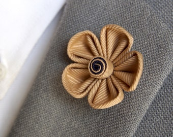Handmade Tan Lapel Flower Pin / flower lapel pin / flower brooch / kanzashi lapel flower