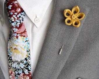 Handmade Golden Lapel Flower with Floral Tie and Pocket Square Set