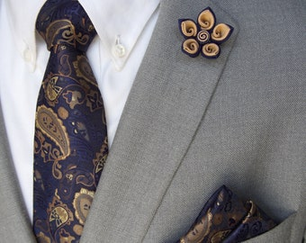 Handmade Navy/Tan Lapel Flower Pin with Navy Paisley Tie and Pocket Square - Wedding accessories - men's gift