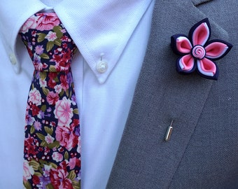Handmade Lapel Flower Pin with a Floral Tie Set, Wedding accessories, Men's Gifts