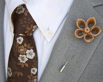 Handmade Tan Open Petal Lapel Flower Pin / Brown Floral Tie & Pocket Square Set / Men's Suit Accessories /Men's Tie / Mens Gift