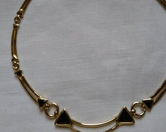Vintage Gold Tone & Black Stone Choker Panel Necklace