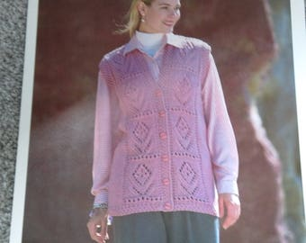 Vintage Knitting Pattern For Ladies Waistcoat, Hayfield Chunky No. 4755