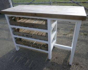 Kitchen Centre Island Breakfast Bar Hand Crafted Wood Rustic Etsy