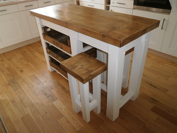 kitchen centre island breakfast bar hand crafted Wood Rustic butchers block  apple store stools seating
