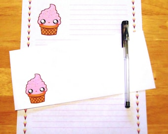 Kawaii Ice Cream Cone - Lined Stationery Set With Envelopes - Snail Mail Pen Pal Letters - Stationary Writing Paper