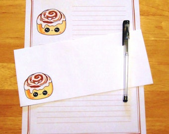 Kawaii Cinnamon Bun - Lined Stationery Set With Envelopes - Snail Mail Pen Pal Letters - Stationary Writing Paper